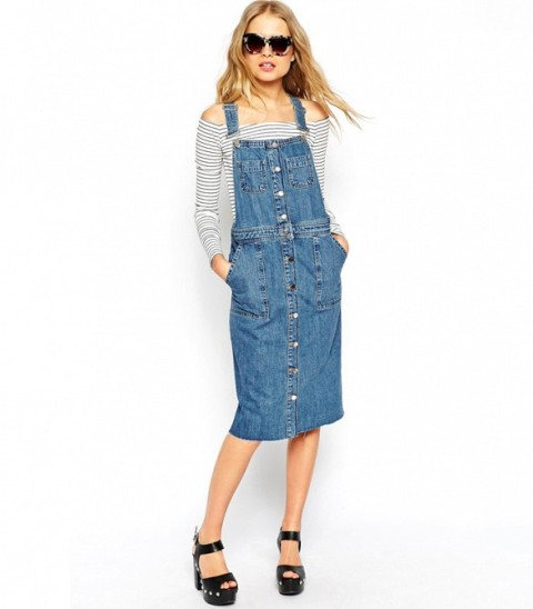 Trendy Pinafore Denim Dresses This Season