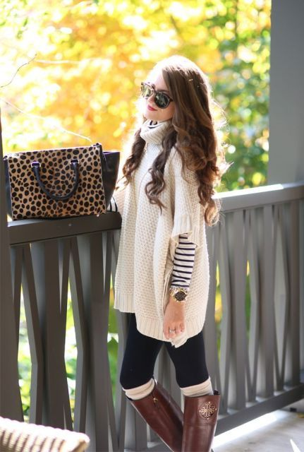 Comfortable Knitted Ponchos For Autumn Days