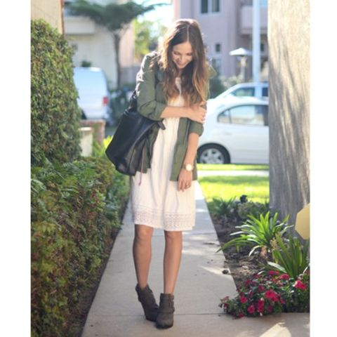 a white boho lace dress, an olive green jacket, brown booties, a black tote for every day