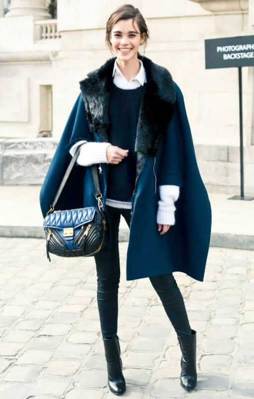 Picture Of stylish and warm ways to wear cape this fall  11