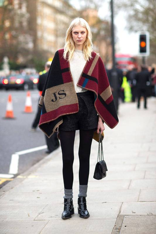 Picture Of stylish and warm ways to wear cape this fall  12