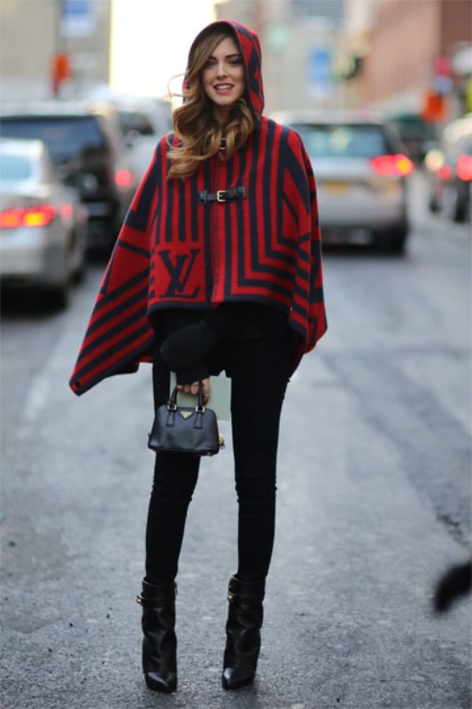 Picture Of stylish and warm ways to wear cape this fall  3