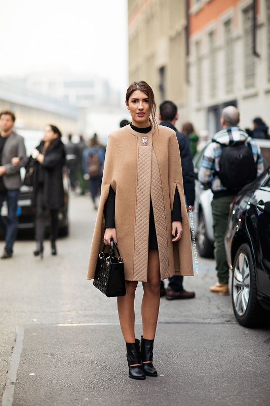 Picture Of stylish and warm ways to wear cape this fall  9