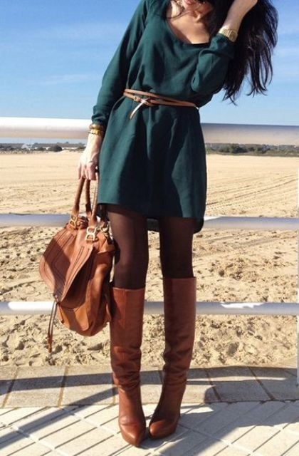 Picture Of Cool Dress And Boots Combinations For Fall 13