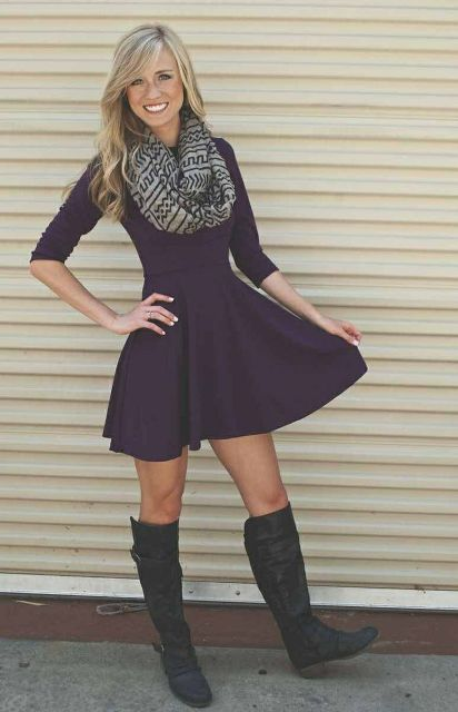 Picture Of Cool Dress And Boots Combinations For Fall 14 2bb8b2da0