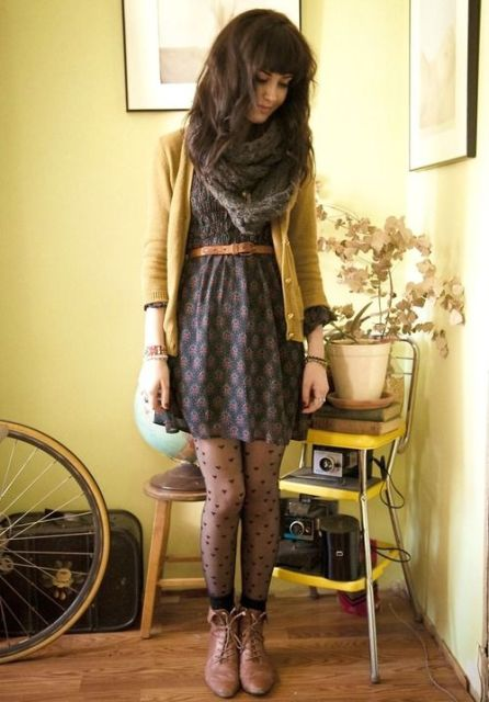 Picture Of Cool Dress And Boots Combinations For Fall 5