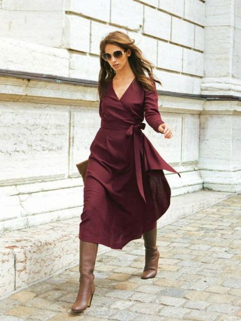 Picture Of Cool Dress And Boots Combinations For Fall 6