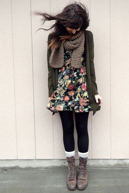 Picture Of Cool Dress And Boots Combinations For Fall 7