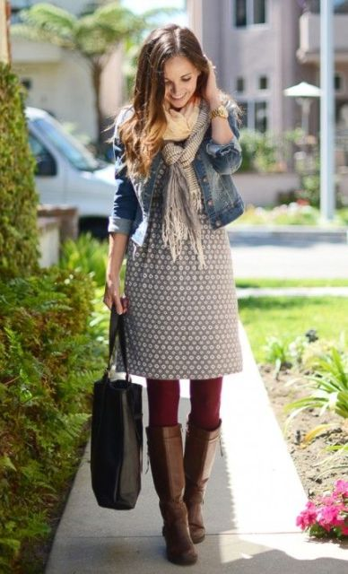 Picture Of Cool Dress And Boots Combinations For Fall 9 4578108c1