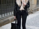 15 Fall Outfit Ideas With Faux Fur Stoles12