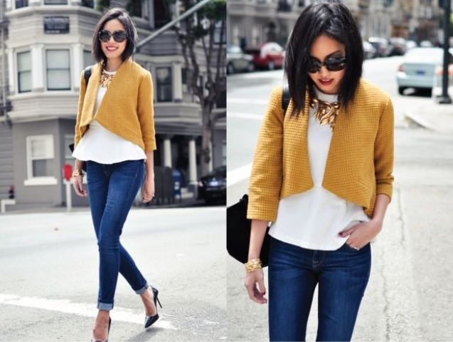 Picture Of Fashionable Casual Fall Outfits With Cropped Jackets 7