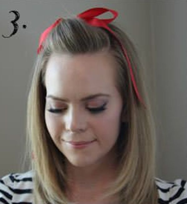Picture Of Incredibly Easy Hairstyle With Ribbon For Every Day 3