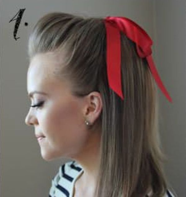Picture Of Incredibly Easy Hairstyle With Ribbon For Every Day 4