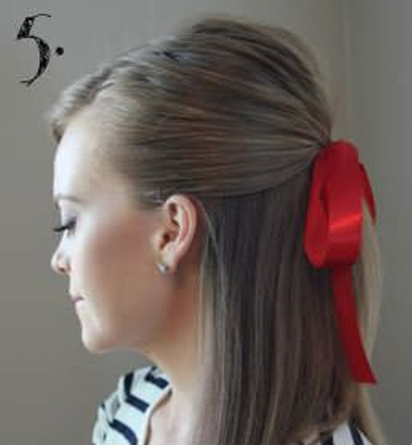 Picture Of Incredibly Easy Hairstyle With Ribbon For Every Day 5