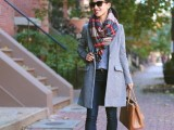 15 Stylish And Excellent Ways To Wear a Plaid Scarf3