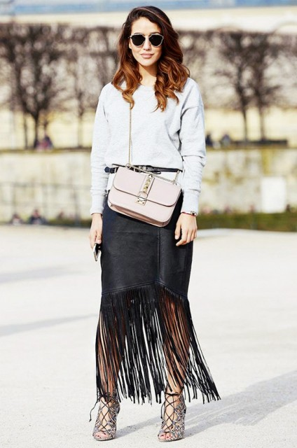 15 Ways To Wear Fringe Skirts Right This Season