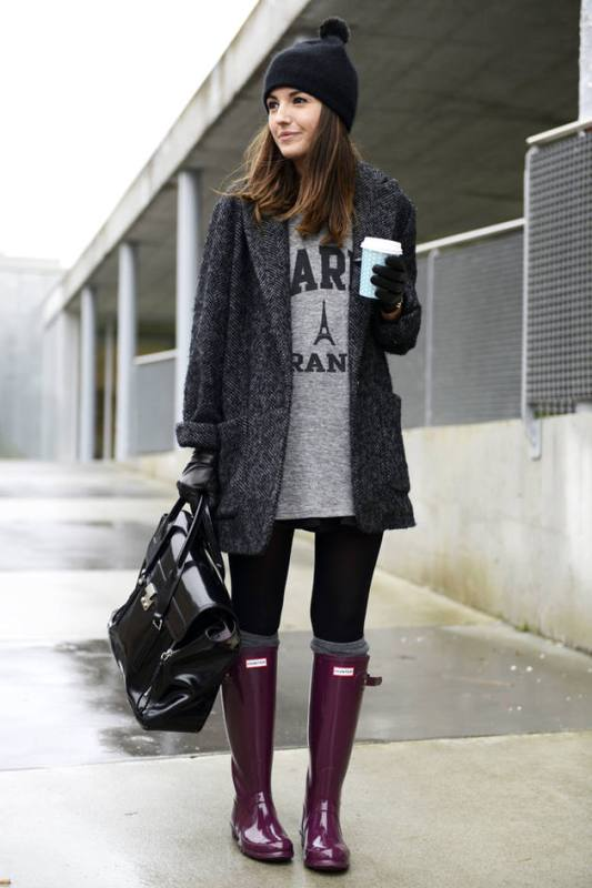 Picture Of chic ways to wear rain boots this fall  12