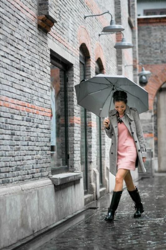 Picture Of chic ways to wear rain boots this fall  3
