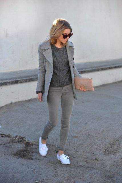 Absolutely Cool Outfits With Skinny Grey Jeans This Fall
