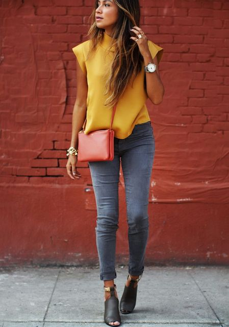 Picture Of Absolutely Cool Outfits With Skinny Grey Jeans This Fall 13