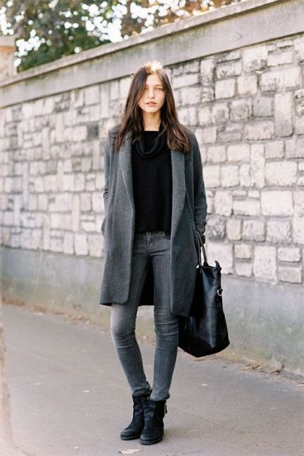 Picture Of Absolutely Cool Outfits With Skinny Grey Jeans This Fall 15