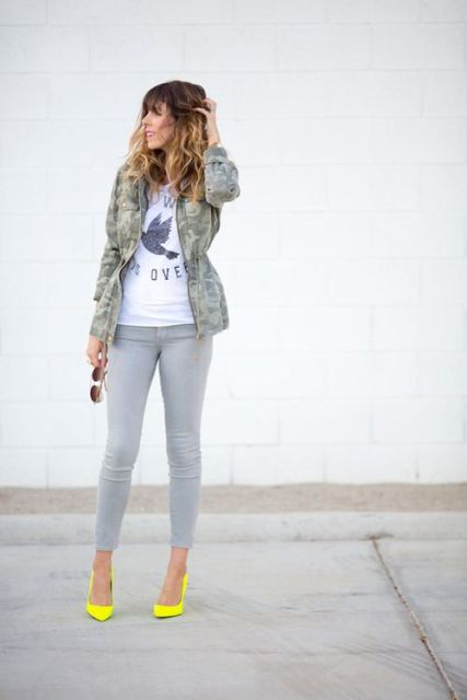 Picture Of Absolutely Cool Outfits With Skinny Grey Jeans This Fall 16