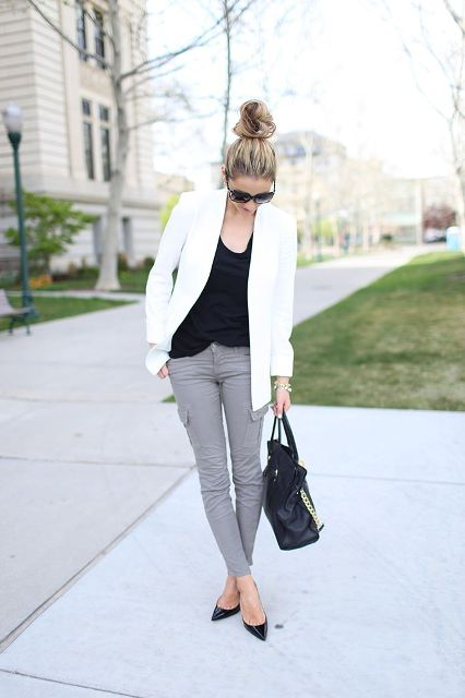 Picture Of Absolutely Cool Outfits With Skinny Grey Jeans This Fall 2