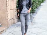 16 Absolutely Cool Outfits With Skinny Grey Jeans This Fall8