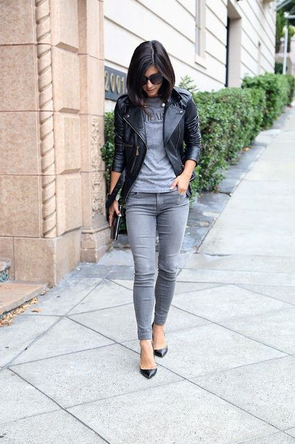 16 Cool Outfits With Grey Skinny Jeans For This Fall - Styleoholic