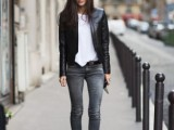 16 Absolutely Cool Outfits With Skinny Grey Jeans This Fall9