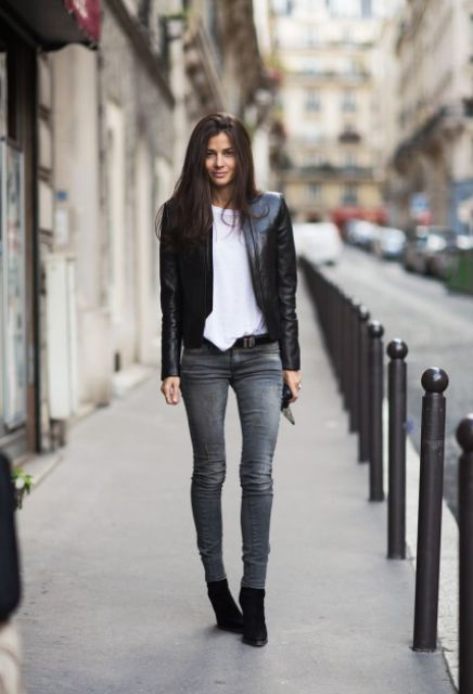 Picture Of Absolutely Cool Outfits With Skinny Grey Jeans This Fall 9