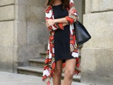 16 Feminine Long Cardigan And Dress Combinations For Fall