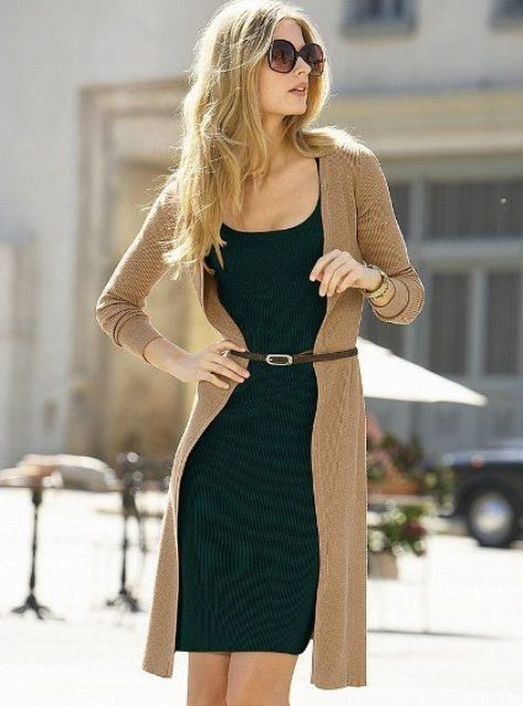 Picture Of Feminine Long Cardigan And Dress Combinations For Fall 10