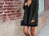 16 Feminine Long Cardigan And Dress Combinations For Fall11
