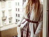 16 Feminine Long Cardigan And Dress Combinations For Fall12