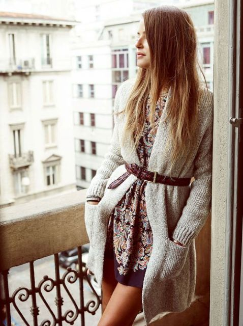 Picture Of Feminine Long Cardigan And Dress Combinations For Fall 12
