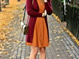 16 Feminine Long Cardigan And Dress Combinations For Fall13