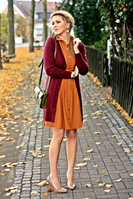Of Feminine Long Cardigan And Dress Combinations For Fall 13