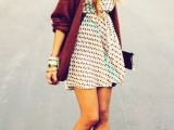 16 Feminine Long Cardigan And Dress Combinations For Fall4