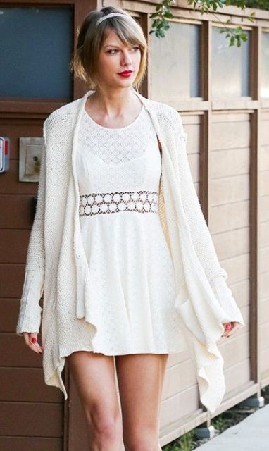 Picture Of Feminine Long Cardigan And Dress Combinations For Fall 5