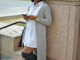 16 Feminine Long Cardigan And Dress Combinations For Fall6