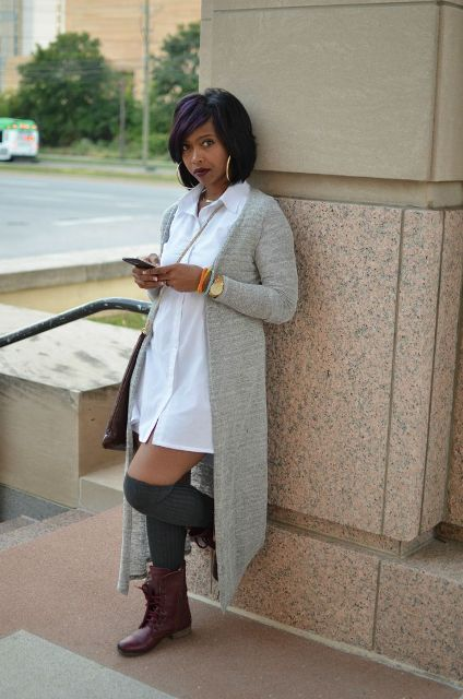 Picture Of Feminine Long Cardigan And Dress Combinations For Fall 6