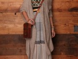 16 Feminine Long Cardigan And Dress Combinations For Fall8