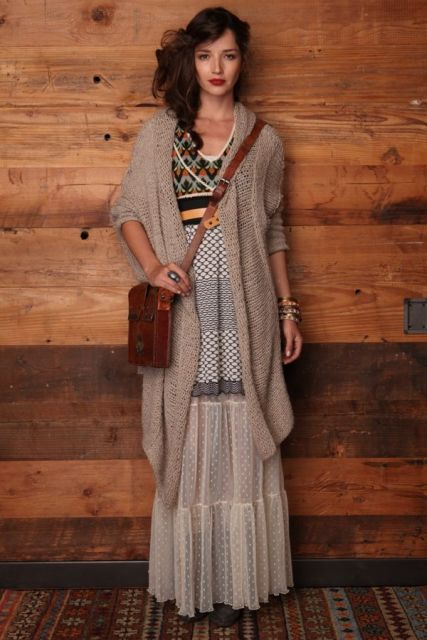 Picture Of Feminine Long Cardigan And Dress Combinations For Fall 8