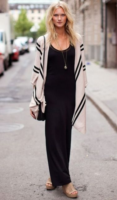 Picture Of Feminine Long Cardigan And Dress Combinations For Fall 9