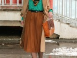 16 Feminine Pleated Midi Skirt Outfits For Fall And Winter 12