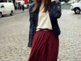 16 Feminine Pleated Midi Skirt Outfits For Fall And Winter 4