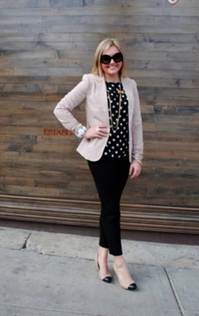 Picture Of Ways To Wear Polka Dot Clothing At Office 8