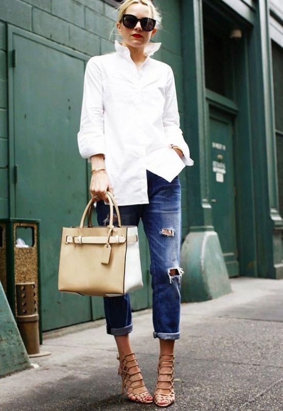 Picture Of crisp shirt and boyfriends jeans combo ideas  2