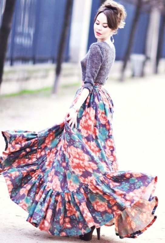 Picture Of fabulous ways to wear full and sassy maxi skirts this fall  1